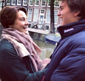Hazel and Augustus filming in Amsterdam